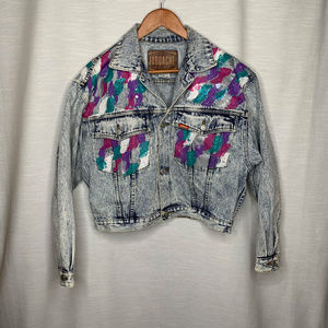 1990s Jordache personalized crop denim jacket L